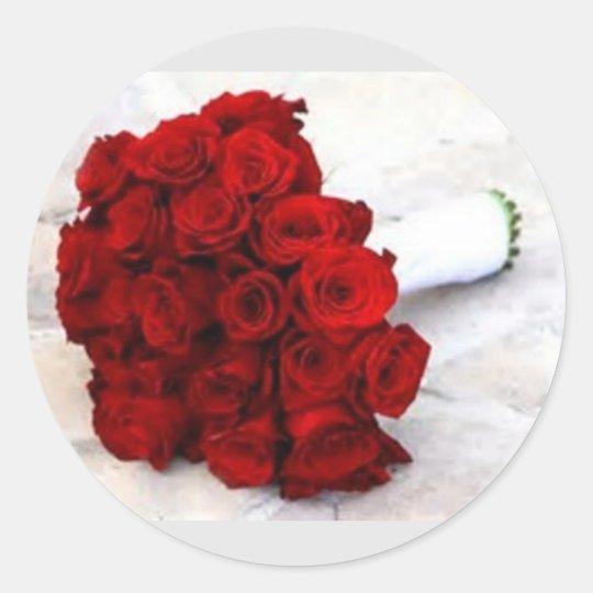 rose bouquet favours classic round sticker