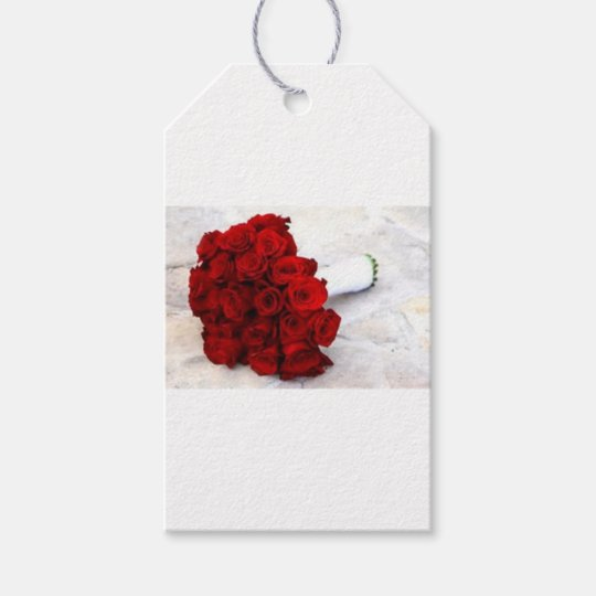 rose bouquet favours gift tags
