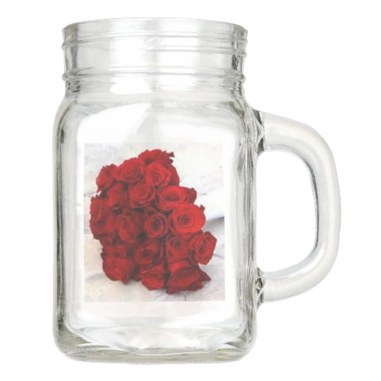 rose bouquet favours mason jar
