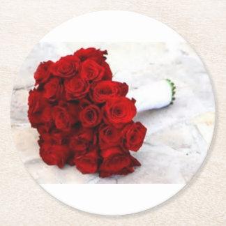 rose bouquet favours round paper coaster