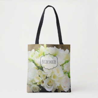Rose Bouquet Natural White and Green Custom Tote Bag