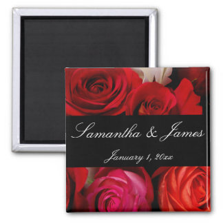 Rose Bouquet Personal Wedding Square Magnet