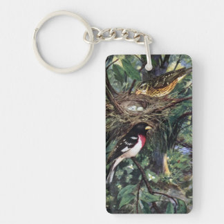 Rose-Breasted Grosbeaks and Their Nest Single-Sided Rectangular Acrylic Keychain