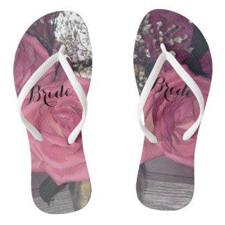 Rose Bride Flip Flops