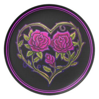 Rose Bush Heart Design Plates