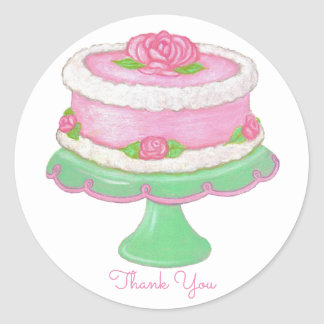 Rose Cake Sticker ~ Thank You