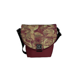 Rose camouflage pattern on tiled wall background courier bags