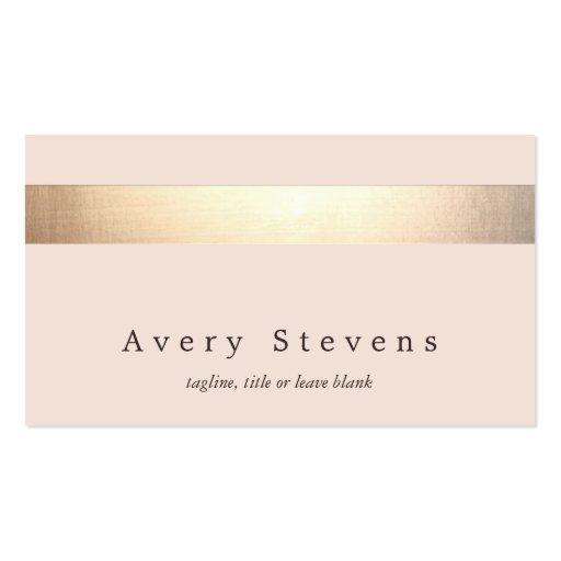 Rose-clair élégant moderne rayé coloré par or cartes de visite personnelles