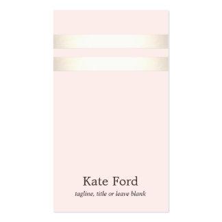 Rose-clair rayé d'or élégant élégant de Faux Carte De Visite Standard