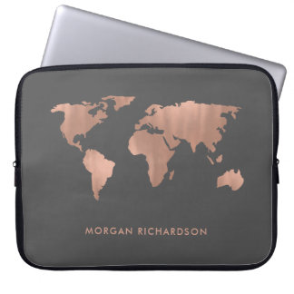 Rose Colored World   Map on Smoky Gray Laptop Sleeve
