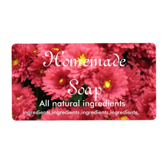 Rose Coloured Floral Homemade Soap Label