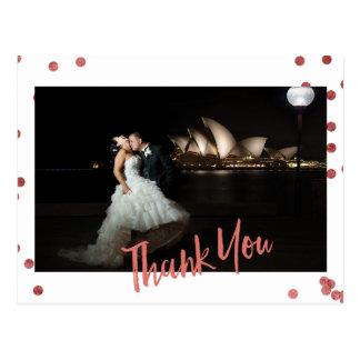 Rose Confetti Custom Photo Wedding Thank You Postcard