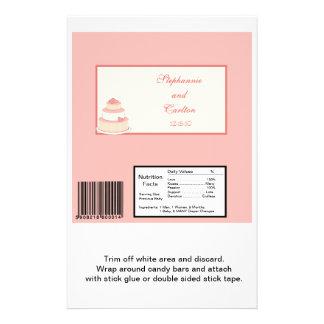 Rose/Creme Wedding Cake Large Candy Bar Wrapper Custom Flyer