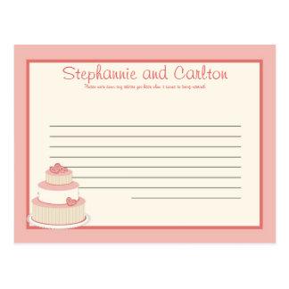Rose/Creme Wedding Cake Writable Advice Card Postcard