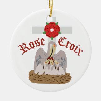 Rose Croix Round Ceramic Ornament