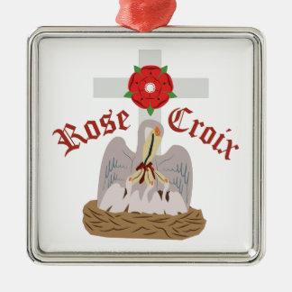 Rose Croix Silver-Colored Square Ornament