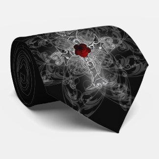 Rose Cross Goth Art Tie