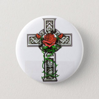Rose cross tattoo design 2 inch round button