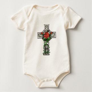 Rose cross tattoo design baby bodysuit
