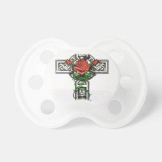 Rose cross tattoo design pacifier
