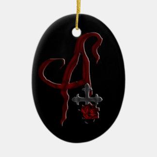 Rose Cross Vampire Monogram A Ceramic Ornament
