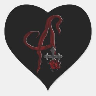 Rose Cross Vampire Monogram A Heart Sticker