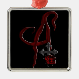 Rose Cross Vampire Monogram A Metal Ornament