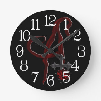 Rose Cross Vampire Monogram A Round Clock