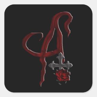 Rose Cross Vampire Monogram A Square Sticker