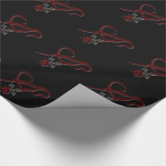 Rose Cross Vampire Monogram A Wrapping Paper
