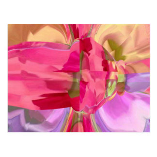Rose Crystal - RedRose PinkRose Bud n Petal Postcard