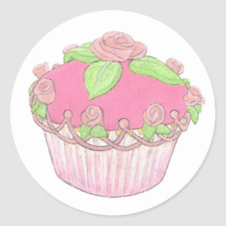 Rose Cupcake Sticker