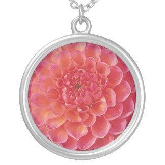 Rose Dahlia Image Silver Plated Necklace