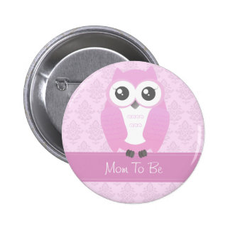 Rose de bouton de baby shower de hibou pin's avec agrafe