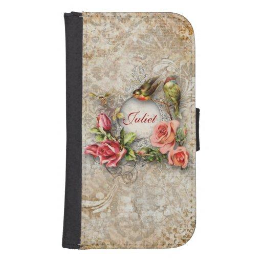 Rose de damassé vintage personnalisé coque avec portefeuille pour galaxy s4