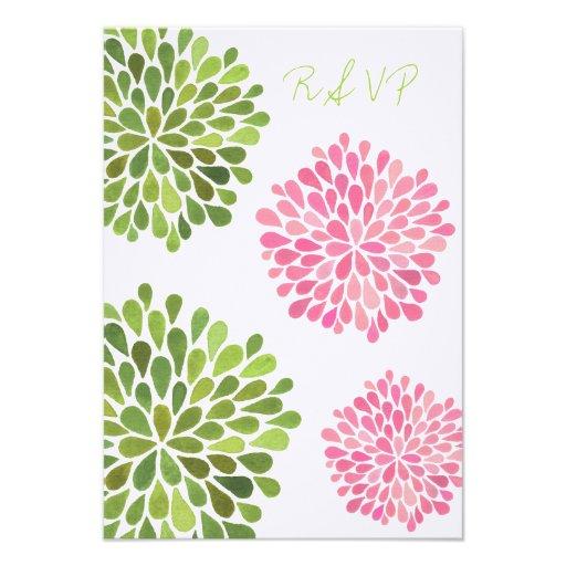 Rose de RSVP et carte de mariage florale verte de  Cartons D'invitation
