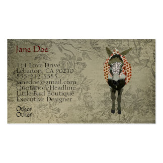 Rose Donkey White Vintage Business Cards