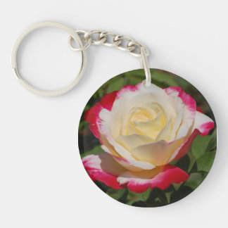 Rose Double-Sided Round Acrylic Keychain