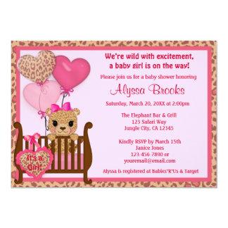 Rose doux de l'invitation CGS de baby shower de Carton D'invitation 12,7 Cm X 17,78 Cm