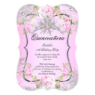 Rose doux du 15ème pays des merveilles d'hiver de carton d'invitation  12,7 cm x 17,78 cm