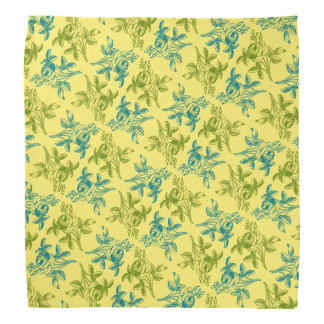 Rose Drawing Bandana (Blue and Green on Yellow)