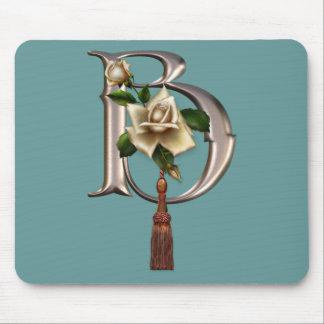 Rose Elegance Monogram B Mouse Pad