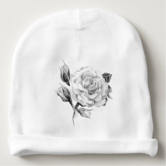 Rose. Elegant floral stylish rustic vintage image Baby Beanie