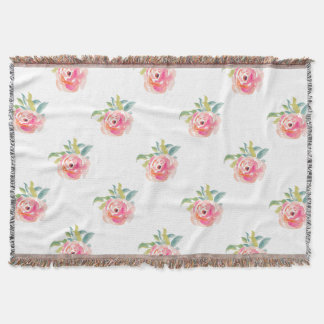 Rose Elegant pink watercolor roses floral Throw Blanket