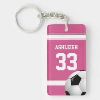 Rose et blanc barre le ballon de football du porte-clefs