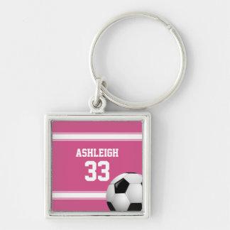 Rose et blanc barre le ballon de football du porte-clé