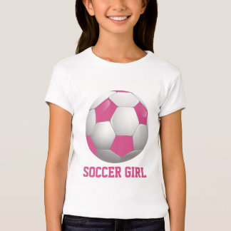 Rose et blanc de ballon de football de fille du t-shirt
