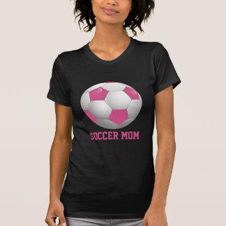 Rose et blanc de ballon de football de maman du t-shirt