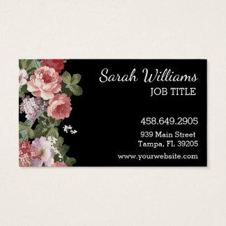 Rose et carte de visite floral pourpre