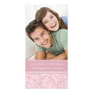 Rose et crème de carte photo de faire-part de fian cartes avec photo